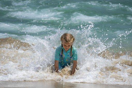 Girl, Beach, Happy, Kid, Child, Vacation, Summer, Waves
