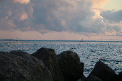 Sea, Sailboats, Sunset, Stones, Coast, Water, Ocean