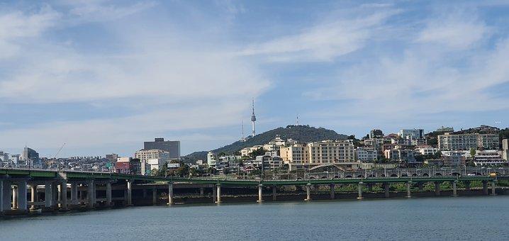 Han River, City, South Korea, Bridge, Landscape