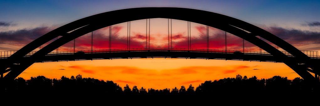 Bridge, Architecture, Sky, Clouds, Silhouette, Evening