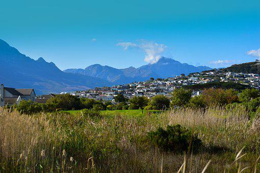 Mountains, Town, Houses, Countryside, Landscape, Trees