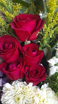 Roses, Chrysanthemums, Flowers, Bouquet, Red Roses