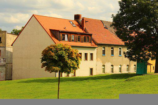 House, Town, Lubomierz, Poland, Building, Young Tree