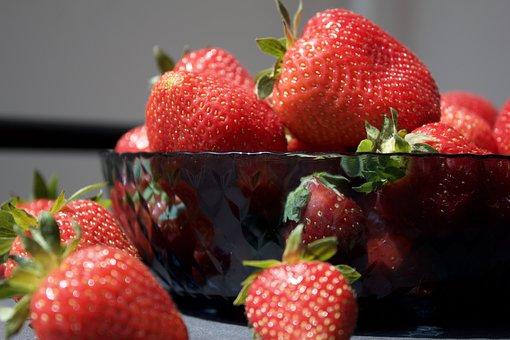 Strawberries, Fruits, Berries, Food, Bowl, Fresh