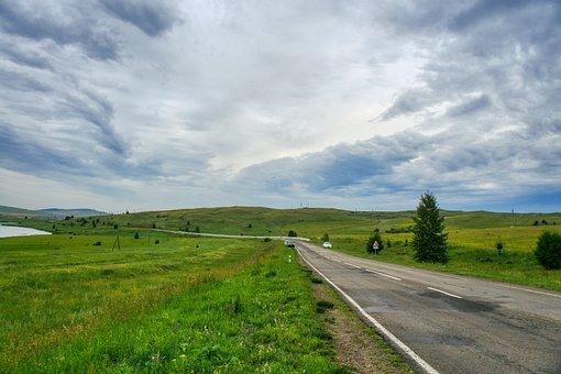 Road, Highway, Field, Khakassia, Trees, Travel, Sky