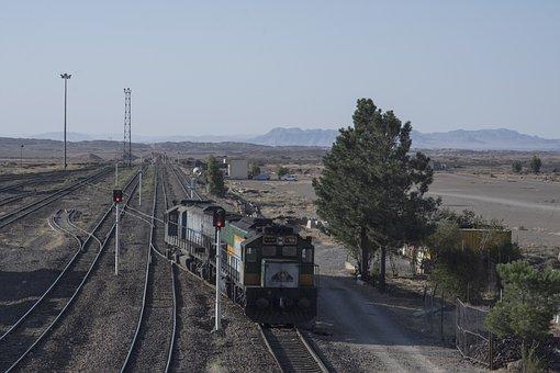 Railway, Train, Qom, Iran, Railroad, Locomotive, Travel