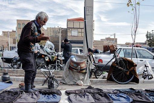 Street, Old Man, Qom, Iran, Seller, Selling, Market