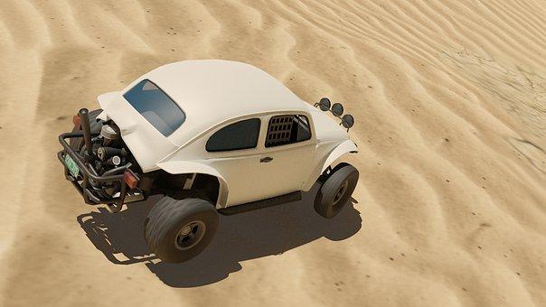 Volkswagen, Beetle, Car, Desert, Rally, Off Road, Sand
