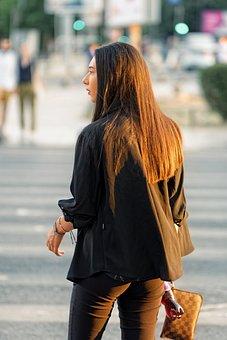 Woman, Young, Purse, Fashion, Waiting, Intersection