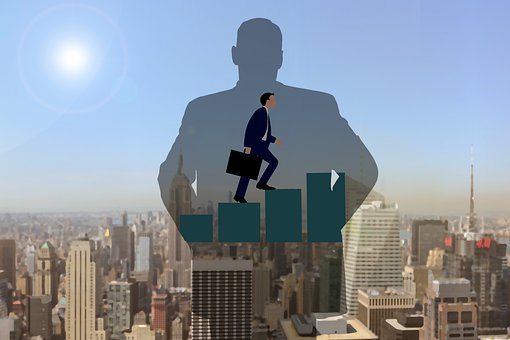 Business Man, Stairs, Career, Training, Teaching