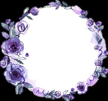 Greeting Card, Floral Frame, Purple Frame