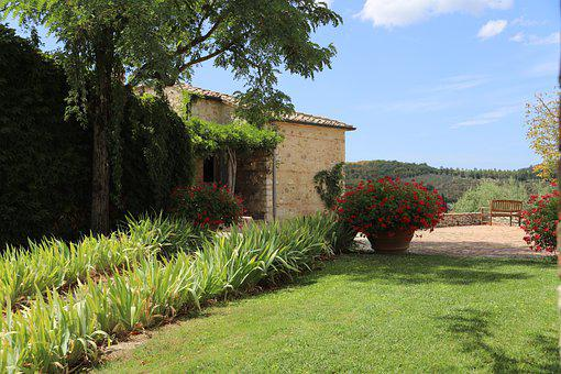 House, Lawn, Tuscany, Italy, Stone House, Garden
