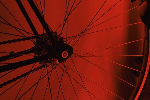 Bike, Bicycle, Wheel, Tire, Spoke, Chain, Red