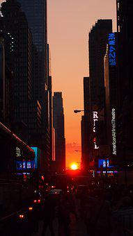 New York, Manhattan, Usa, Evening, Sunset