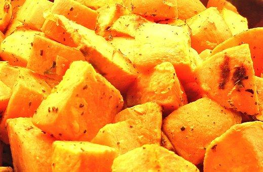 Sweet Potatoes, Roasted, Olive Oil, Rosemary, Food