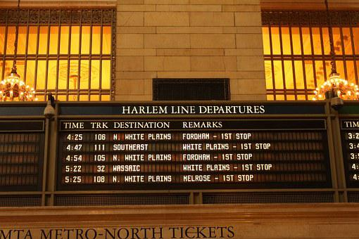 Grand Central Station, New York, Notice, Board, Timings