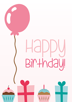 Birthday, Greeting Card, Balloon, Gifts, Cupcakes