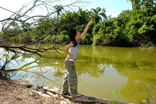 Peaceful, Peace, Point, River, Women, Indicate, Fishing