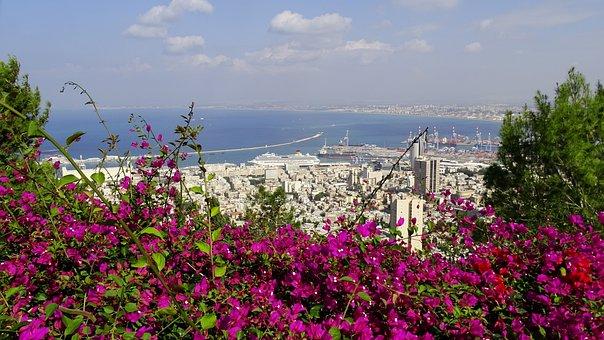 Israel, Haifa, Port, Sky, Clouds