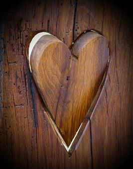 Wood, Dark Wood, Heart, Wooden Heart, Symbol, Love