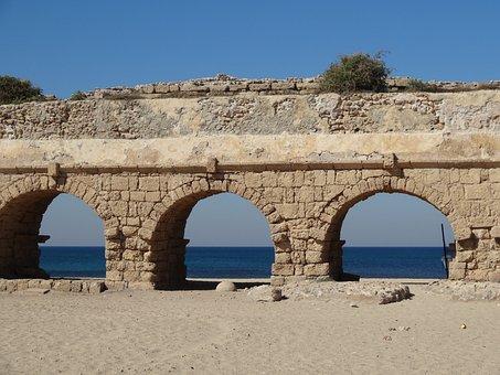 Mediterranean, Sea, Arch, Blue, Coast, Israel