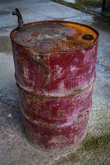Old, Rusty, Barrel, Old Rusty Barrel, Factory, Metal