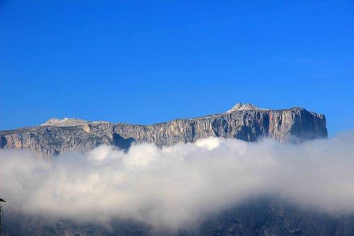 Mountain, Clouds, Sky, Fog, South Tyrol, Mountains