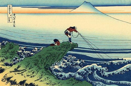 Fishing, Fishermen, Japan, Japanese, Painting