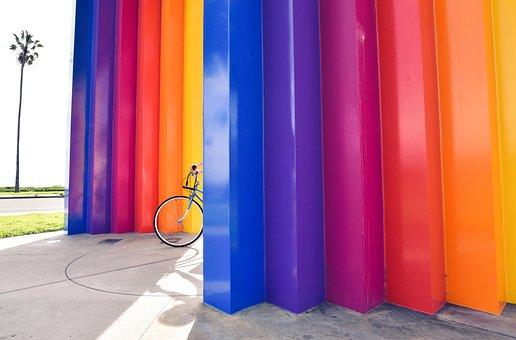 Colors, Wall, Art, Design, Yellow, Orange, Red, Purple