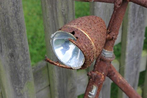 Bike, Lamp, Rust, Wheel, Cycling, Bicycle Lamp