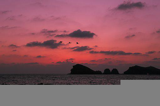 Ocean, Sunset, Afterglow, Landscape, Beach, Dusk