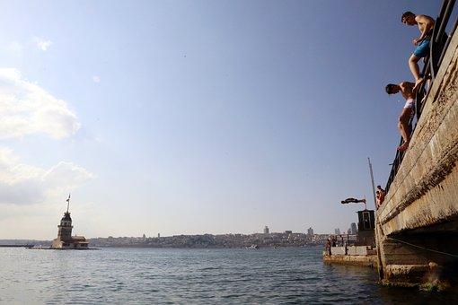 Sea, Bridge, Maiden's Tower, Istanbul, Turkey, Children