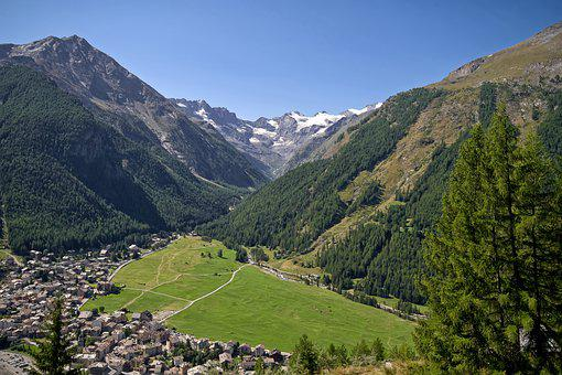 Mountains, Valley, Town, Alps, Valle D'aosta, Cogne