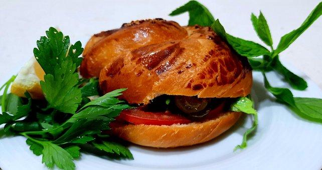 Burger, Vegetables, Bun, Pastry, Greens, Vegan