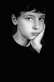 Boy, Thinking, Black And White, Portrait, Child