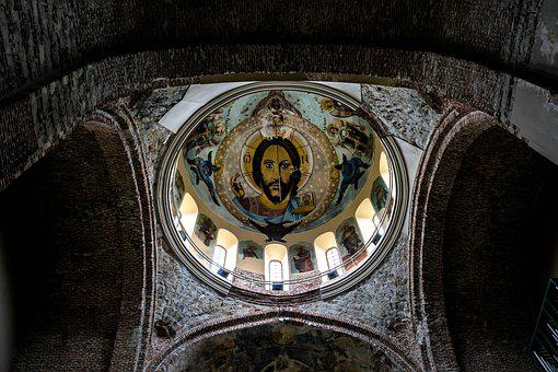 Church, Ceiling, Mosaic, Christ, Jesus, Religion