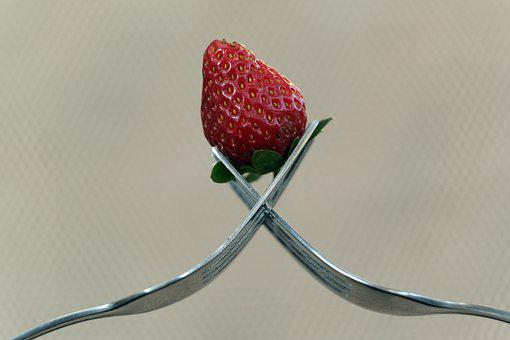 Strawberry, Fruit, Forks, Red Fruit, Food, Silverware