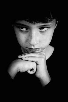 Boy, Thinking, Hands, Black And White, Portrait, Baby