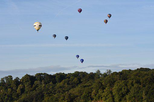 Hot Air Balloons, Sky, Forest, Mountain, Woods