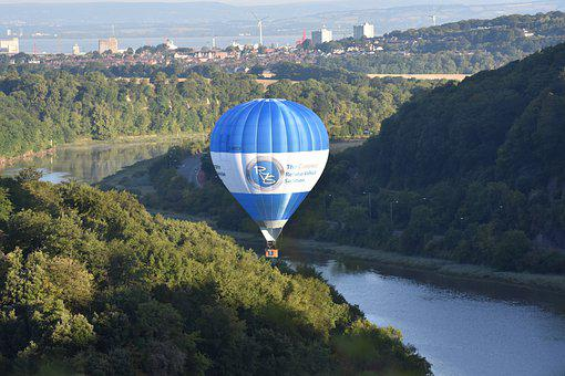 Hot Air Balloon, River, Forest, Mountains, Woods