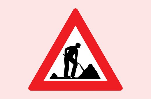Road, Works, Sign, Warning, Red, Reflective, Traffic