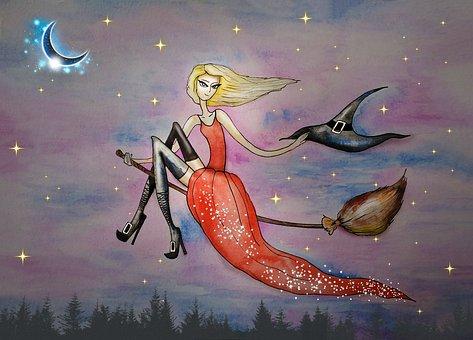 Witch, Halloween, Drawing, Magic, Broom, Dress, Hat
