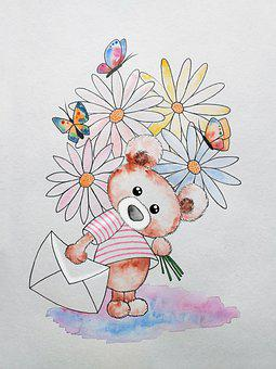 Teddy Bear, Drawing, Flowers, Childhood, Letter, Art