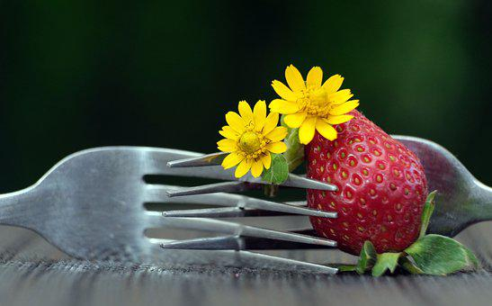 Strawberry, Fruit, Forks, Flowers, Yellow Flowers