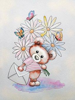 Teddy Bear, Letter, Flowers, Art, Drawing, Childhood