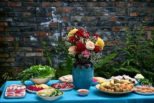 Food, Flower Vase, Table, Meal, Meat, Fruits