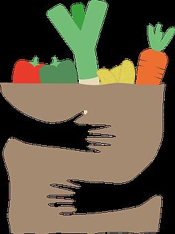 Vegetables, Food, Produce, Paper Bag, Shopping