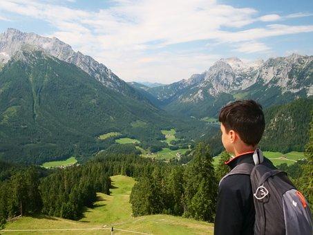 Boy, Alps, Hiking, Child, Trail, Nature, Landscape