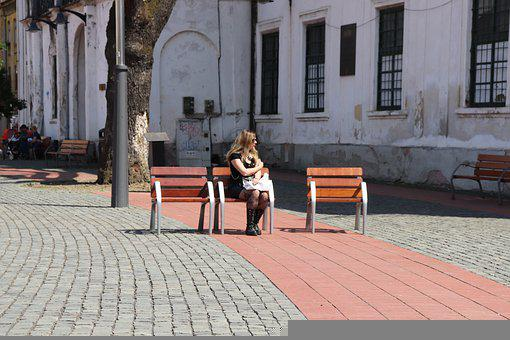 Victory Square, Woman, Sitting, Town Square, Blonde