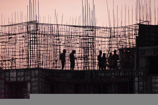 Construction, Workers, Sunset, Silhouette, Building
